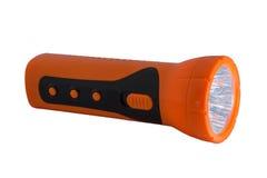 Torcia elettrica elettrica arancio della tasca su blackground bianco Fotografia Stock