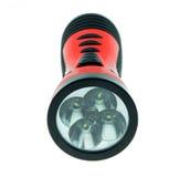 Torcia elettrica elettrica della tasca isolata su fondo bianco Fotografie Stock Libere da Diritti