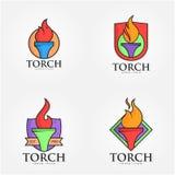 Torcia Logo Vector Art Logo Fotografie Stock