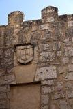 Tordesillas Fleur-de-lis. Coat of arms with six fleur-de-lis on a wall in Tordesillas,Spain Stock Photo