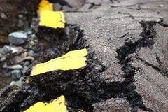 Tore Up Road. After Flooding royalty free stock photo