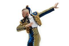 Toreador in blauw en gouden kostuum of typische Spaanse die stierenvechter over wit wordt geïsoleerd royalty-vrije stock fotografie