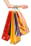 toreb żeński ręki mienia zakupy Obrazy Royalty Free