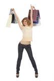 toreb blondynki ręk szczęśliwy chwytów papier rised Obraz Royalty Free