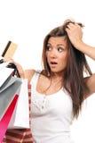 toreb karty kredyta dziewczyna wręcza zakupy ona Fotografia Stock