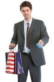toreb karty kredyta mienia mężczyzna zakupy kostium Obraz Stock