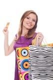 toreb karty kredyta urocza zakupy kobieta Obrazy Royalty Free