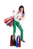 toreb kolorowy żeński ręki mienia zakupy Zdjęcia Stock