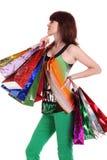 toreb kolorowy żeński ręki mienia zakupy Zdjęcie Royalty Free