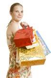 toreb kolorowy dziewczyny papieru kupującego zakupy Obrazy Royalty Free