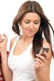 toreb komórki ręki mienia telefonu zakupy kobieta Zdjęcie Stock