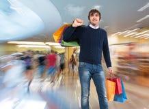toreb mężczyzna zakupy ja target4445_0_ Obraz Stock