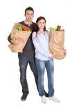 toreb pary sklep spożywczy szczęśliwy zakupy obrazy royalty free