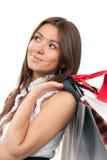 toreb prezenta ręki mienia zakupy kobieta zdjęcie royalty free