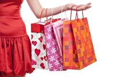 toreb ręki szczęścia s zakupy kobieta Zdjęcie Royalty Free