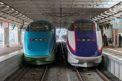 Toreiyu (lämnade) Tsubasa och E3 serie Shinkansen (rätten) Arkivfoto