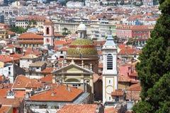 Toren en koepel van de Kathedraal van Nice, Frankrijk Stock Foto's
