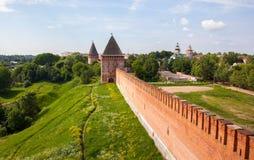 Toren en muur van het Kremlin Stock Foto
