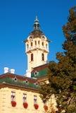 Toren-klok van stadhuis in Szeged, Hongarije stock afbeelding