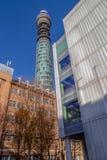 Toren-Post het Bureautoren van BT met 189 meter hoog Londen, het UK Stock Afbeeldingen