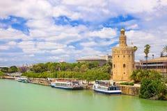 Toren Torre del oro in Sevilla, Andalusia, Spanje Royalty-vrije Stock Fotografie
