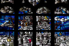 Toren van Babel in gebrandschilderd glas Royalty-vrije Stock Afbeelding