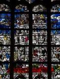 Toren van Babel in gebrandschilderd glas Stock Foto