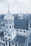 Toren van cityscape van Augsburg landschap, Duitsland Stock Foto's