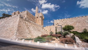 Toren van David timelapse hyperlapse Jeruzalem, Israël stock videobeelden