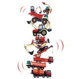 Toren van de bouw van machines wordt geassembleerd die De verzamelde grondwerken De machines van de bouw Stock Afbeelding