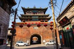 Toren van de de scènetrommel van de Taigu de oude stad stock foto's
