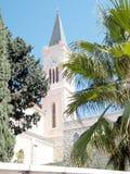 Toren van de Jaffa Franciscan Kerk met klok 2011 Royalty-vrije Stock Fotografie