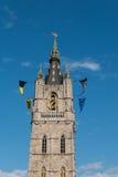 Toren van de Klokketoren van Gent, België Royalty-vrije Stock Foto's