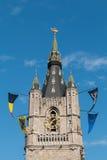 Toren van de Klokketoren van Gent, België Stock Foto