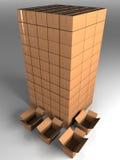 Toren van dozen met open dozen Royalty-vrije Stock Foto's