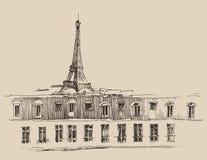 Toren van Eiffel, de architectuur van Parijs Frankrijk, wijnoogst graveerde illustratie, getrokken hand Royalty-vrije Stock Fotografie