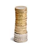 Toren van euro muntstukken Stock Afbeeldingen