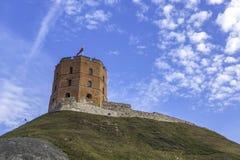 Toren van Gediminas in Vilnius, Litouwen Historisch symbool van Vilnius en Litouwen stock afbeelding
