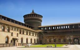 Toren van het Kasteel Sforzesco in Milaan Stock Foto's