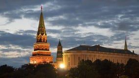 Toren van het Kremlin in Moskou bij nacht Royalty-vrije Stock Foto
