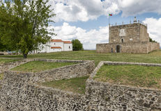 Toren van Hulde binnen het Kasteel in Abrantes-stad, district van Santarem, Portugal Royalty-vrije Stock Afbeelding