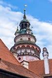 Toren van kasteel ÄŒeskà ½ Krumlov Stock Fotografie
