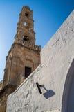 Toren van Kerk van Panagia, Lindos, het eiland van Rhodos, Griekenland Stock Afbeeldingen