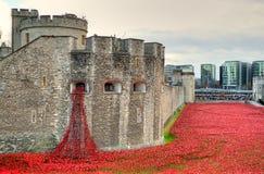 Toren van Londen met overzees van Rode Papavers om de gevallen militairen van WWI - 30 Augustus 2014 te herinneren - Londen, het  Royalty-vrije Stock Afbeelding