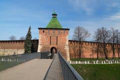 Toren van Nicholas Tower in Nizhny Novgorod het Kremlin stock foto's