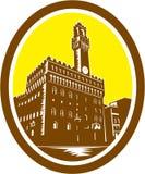 Toren van Palazzo Vecchio Florence Low Woodcut Stock Afbeelding