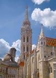 Toren van St Matthias Church in Boedapest, Hongarije Royalty-vrije Stock Foto