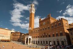 Toren van Stadhuis in Siena Stock Fotografie