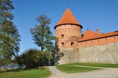 Toren van Trakai Kasteel, Litouwen Stock Foto's