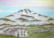 Torena Mountain, Italy. Digitally photographed image of an original watercolor (on 100% cotton & hand made paper), about Mount Torena, located on Valtelina Royalty Free Stock Photo